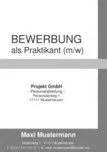 Praktikum Bewerbung Ohne Foto Deckblatt Bewerbung Praktikum Kostenlose Muster Vorlagen