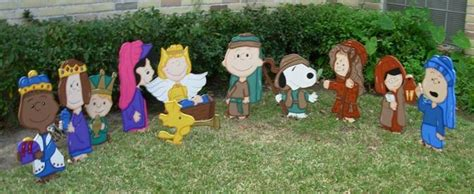 charlie brown gang outdoor brown nativity set 12 299 00 via etsy nativities nativity