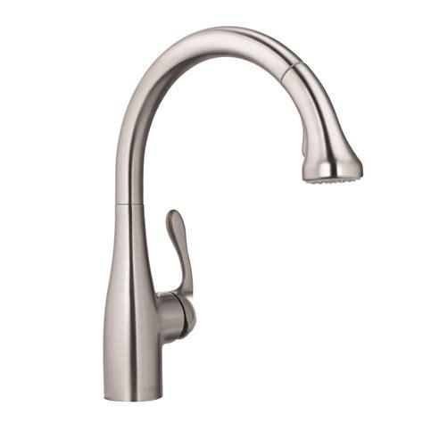 hansgrohe allegro  single handle pull  sprayer kitchen faucet  steel optik