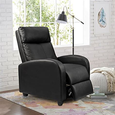 recliner chair theater san jose homall single recliner chair padded seat black pu leather