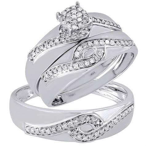 diamond trio set  white gold ladies engagement ring