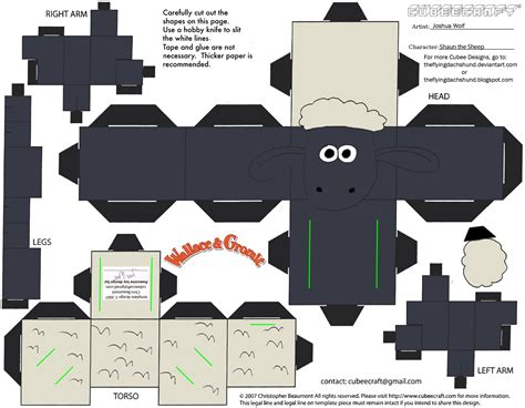 Papercraft Pattern - wg shaun the sheep cubee by theflyingdachshund on deviantart