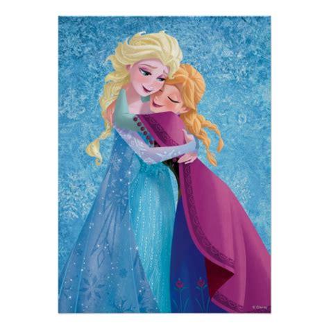 printable elsa poster anna and elsa hugging print zazzle