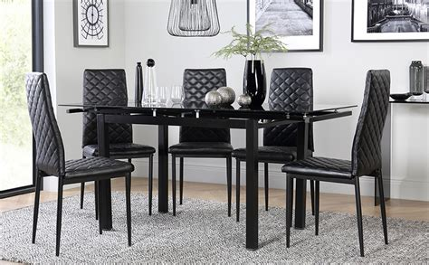 black glass dining table space black glass extending dining table with 6 renzo