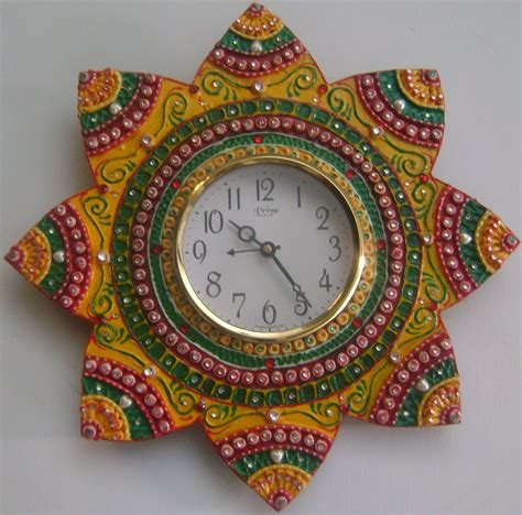 Handmade Work At Home - wooden floral clock with clay and kundan work handmade