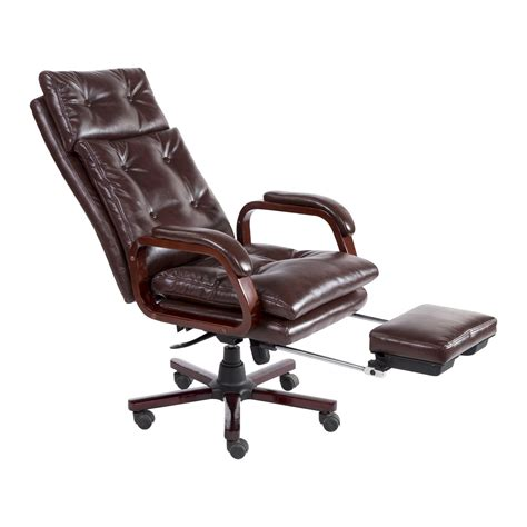 reclining office chair with footrest homcom high back pu leather executive reclining office
