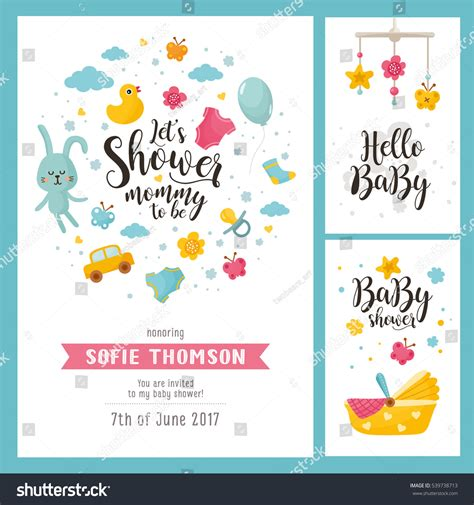templates for baby shower in vector from stock 25 eps baby shower set invitation template hand stock vector