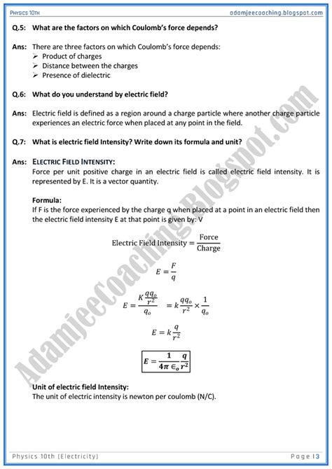 Ssn Mba Questions by Adamjee Coaching Electricity Question Answers Physics