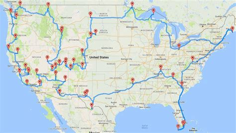 paper road map usa road trip way to drive to all 47 national parks
