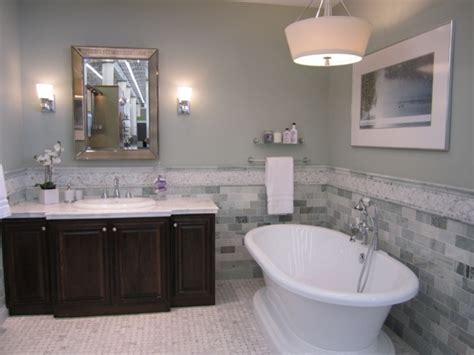 cadet blue master bathroom wall painting with mosaic stone