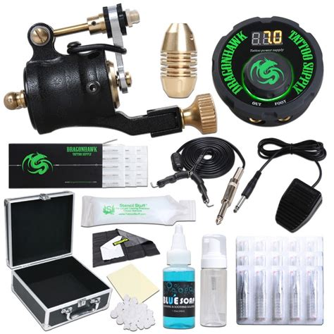 tattoo kit with case dragonhawk airfoil v2 rotary tattoo machine tattoo kit