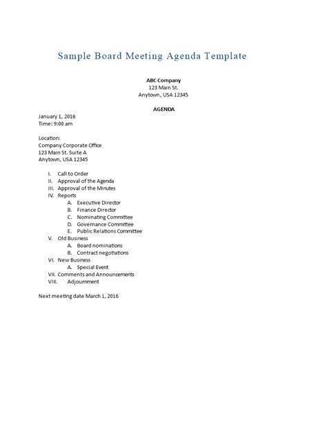 46 effective meeting agenda templates template lab throughout