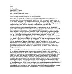 Sample Faculty Position Cover Letter   7  Free Documents