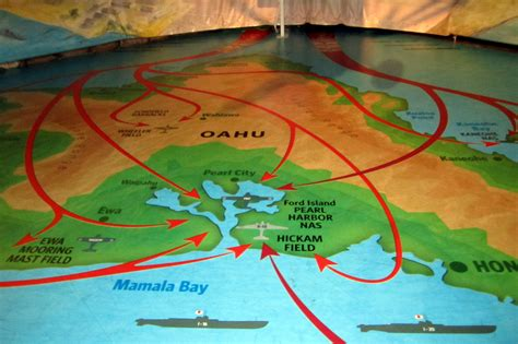 o ahu honolulu ford island pacific aviation museum pearl harbor attack map flickr