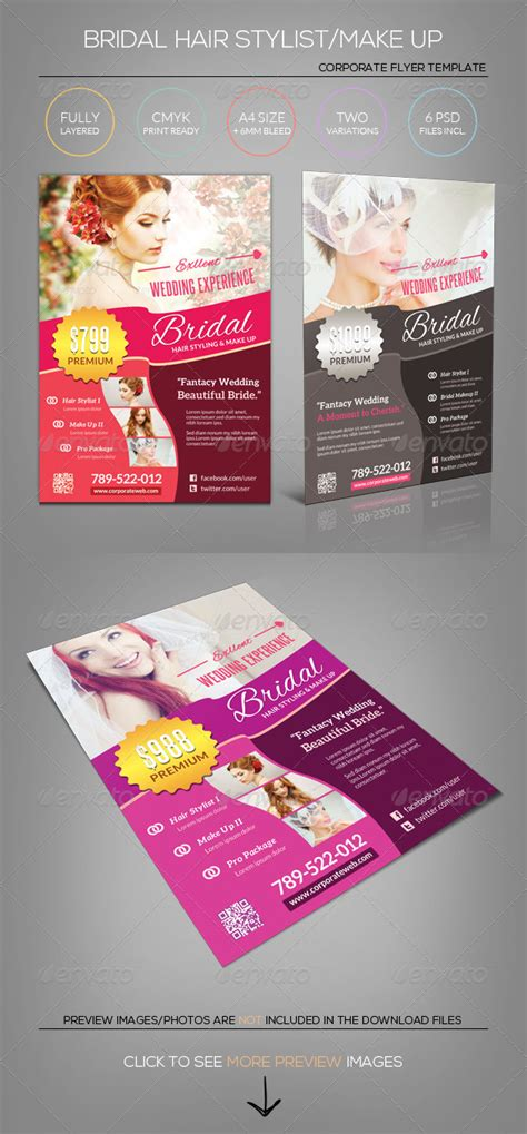 Wedding Bridal Hair Stylist Make Up Flyer Template By Katzeline Graphicriver Hair Stylist Flyer Templates