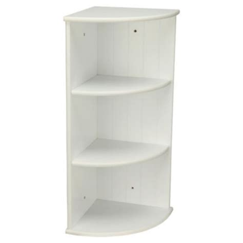 White Corner Bathroom Shelf by Southwold White Wood Tongue Groove Style 3 Tier Wall