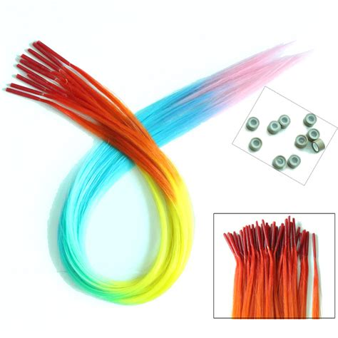 silicone hair extension 10 pieces lot 40cm rainbow synthetic grizzly hair