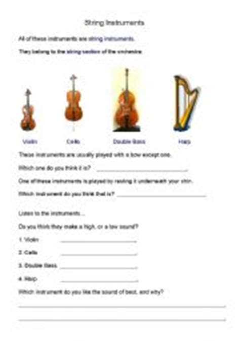 String Worksheets - worksheets string instruments