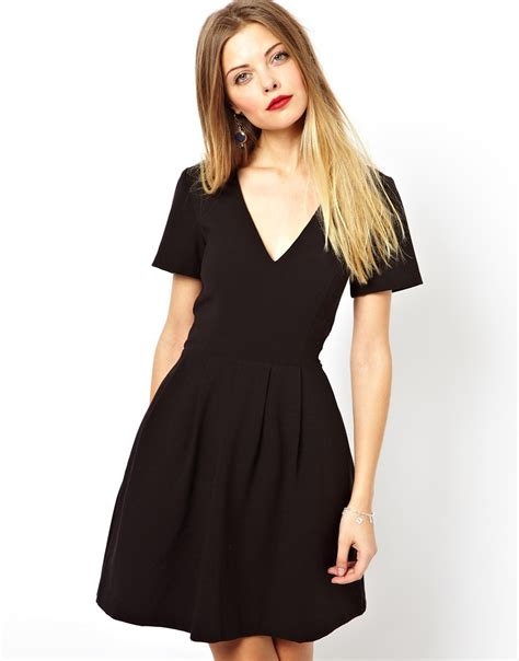 lyst asos v neck structured skater dress in black