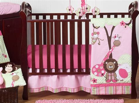 Pink Jungle Crib Bedding Pink And Green Jungle Baby Bedding 11pc Crib Set Only 189 99