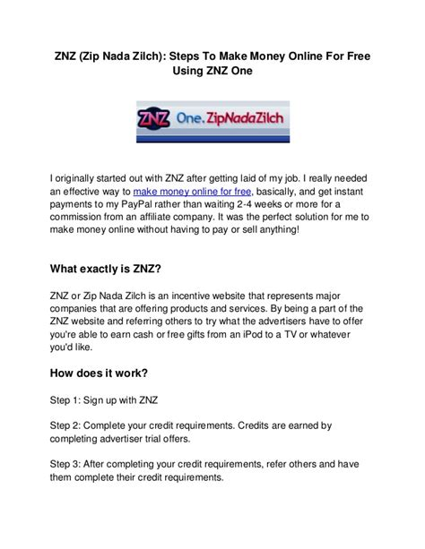 Steps To Make Money Online - znz zip nada zilch steps to make money online for free using znz o