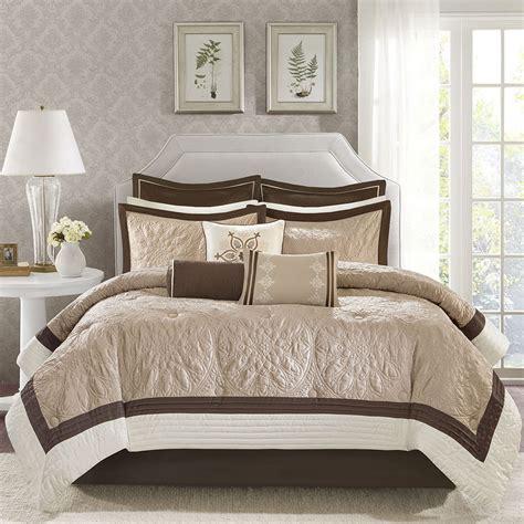ivory king comforter set beautiful modern elegant brown beige taupe ivory comforter