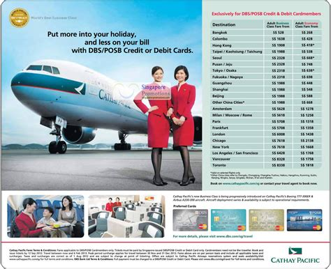 Cathay Pacific Gift Card - cathay pacific dbs posb promotion air fares 21 aug 12 sep 2012
