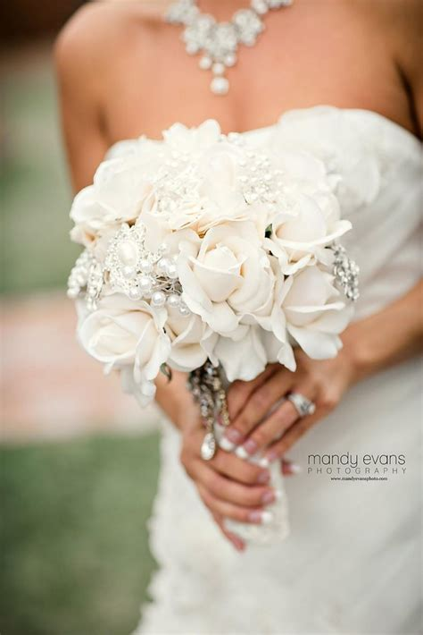 Wedding Bouquet Vintage Brooches by Ivory True Touch Bouquet Ivory Brooch Bridal
