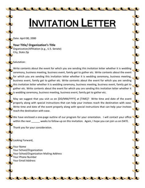 letter invitation applying canada
