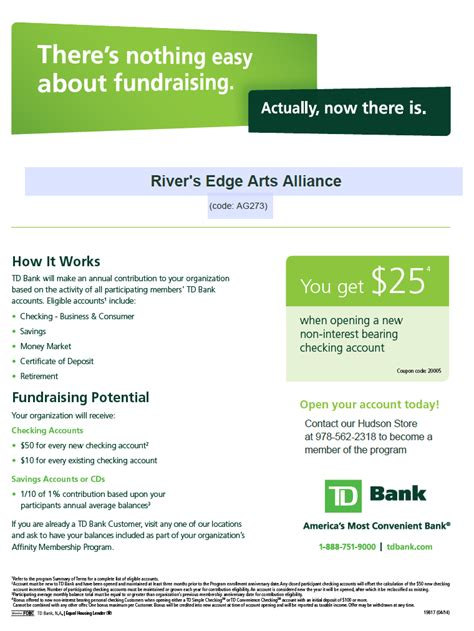 td bank mailing address td bank affinity program river s edge arts alliance