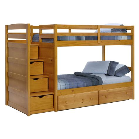 Stairs For Bunk Bed by Pine Ridge Front Loading Stair Bunk Bed Honey At Hayneedle