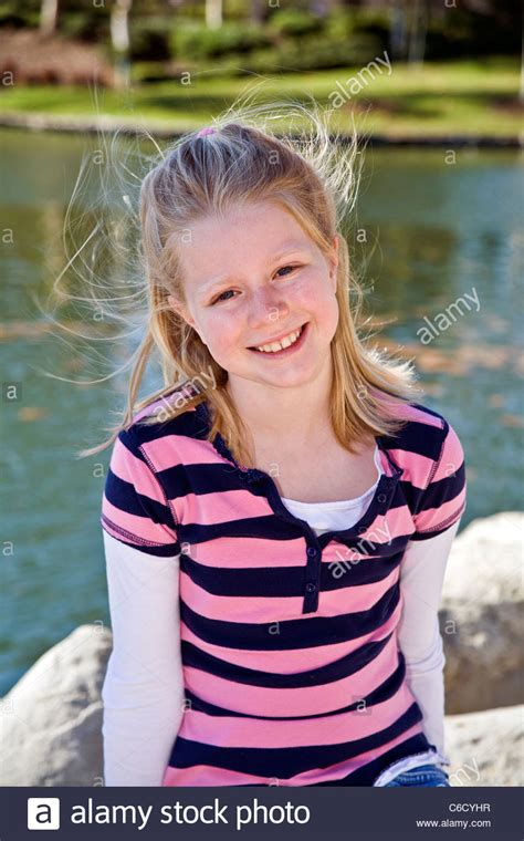 portrait of 10 year old girl stock photo getty images caucasian blonde girl 8 10 year years old girl in park