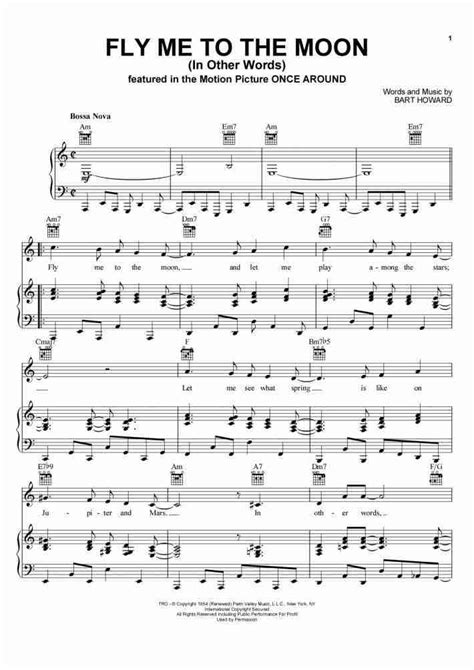 Fly To The Moon fly me to the moon piano sheet onlinepianist
