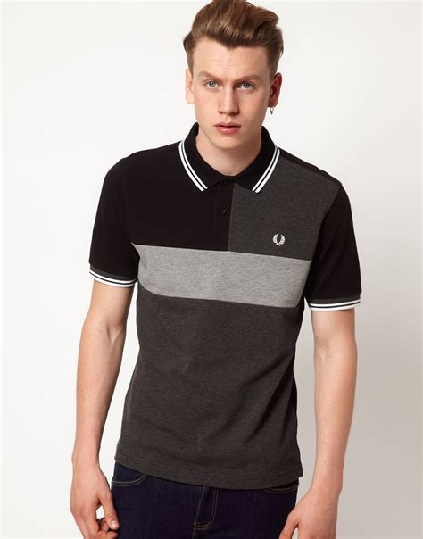 T Shirt Polo Fred Ferry lyst fred perry slim fit cut and sew polo in black for