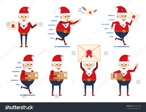 Character Holding Letter set santa claus characters posing letter stock vector