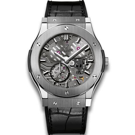 Hublot Classic Fusion Turbillon Blue Black Leather hublot classico ultra thin skeleton titanium 45mm classic fusion watches