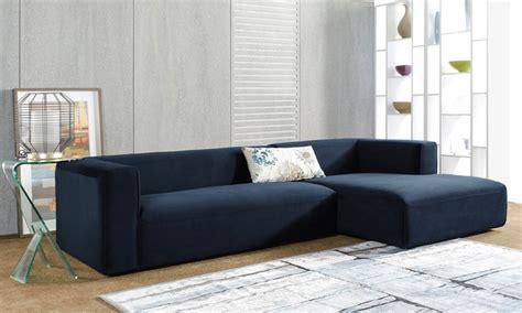 blue velvet chaise sectional hamlet navy blue velvet sectional with chaise groupon