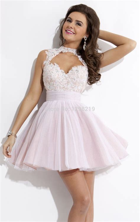 Light Pink Homecoming Dresses by Fashion 2014 Light Pink A Line High Neck Keyhole Lace