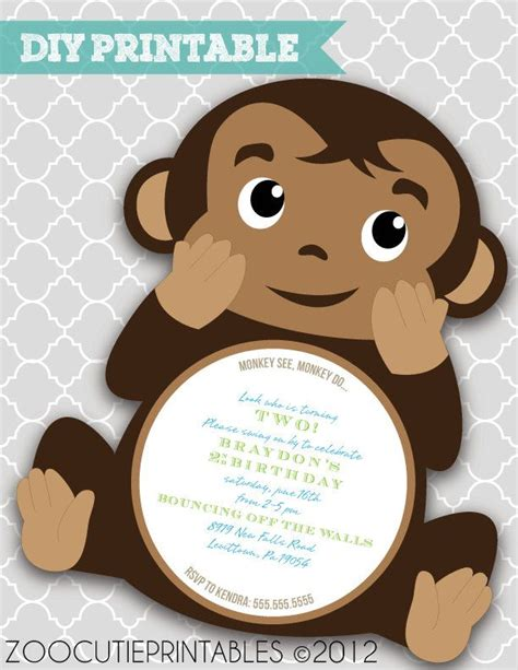 Monkey Birthday Card Template by 25 Best Ideas About Monkey Invitations On