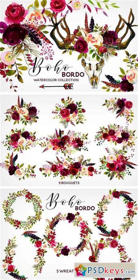 boho bordo watercolor flowers    photoshop vector stock image  torrent