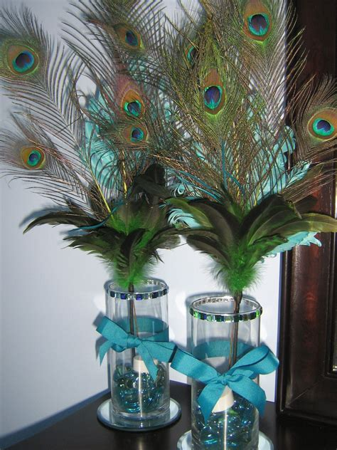 DIY Peacock Feather Centerpieces (For a pretty glow, add
