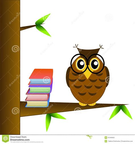 libro the owl who was a clever owl spectacled sits on a tree with books stock photography image 31345602