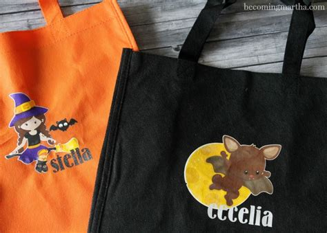 printable iron on vinyl personalized trick or treat bags with printable vinyl