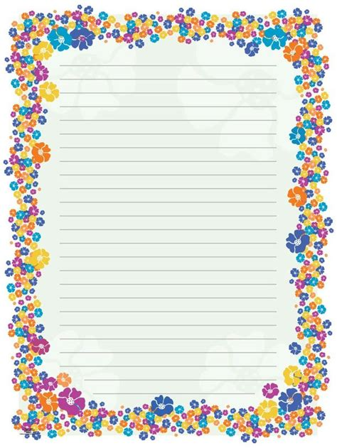 lined paper with plant border blank paper flowers stationery borders for adults