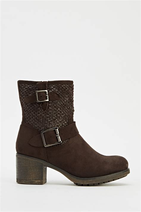 buckle suedette brown boots just 163 5
