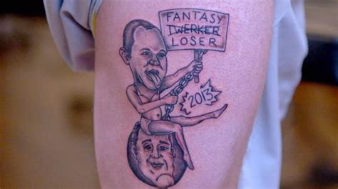 fantasy football tattoo league league loser forced to get miley cyrus