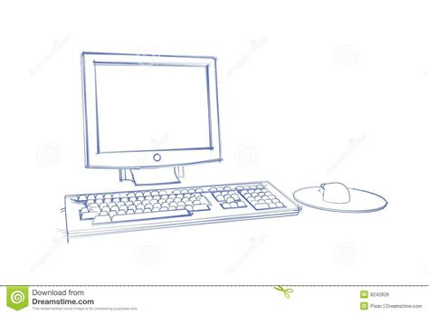 sketchbook on pc sketch of computer stock illustration illustration of