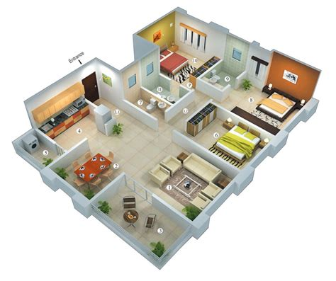 25 Planos Geniales En 3d Para Distribuci 243 N De Planta 3d Home Floor Plan Design Suite V 9