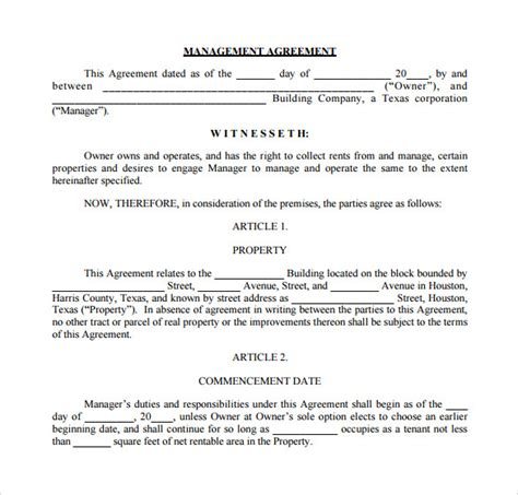 business management agreement template sle management agreement 11 free documents in pdf word