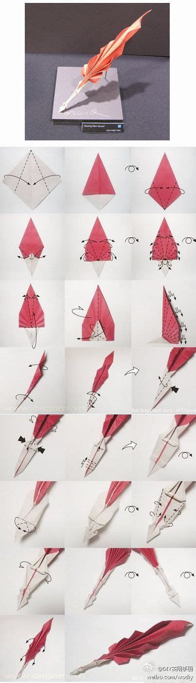 Origami Quill Pen - origami feather pen folding diy